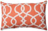 Pillow Perfect, Inc. Lattice Damask Blue Rectangular Throw Pillow, Tangerine
