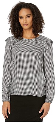CeCe Long Sleeve Gingham Refresh Blouse with Pleating (Soft Ecru) Women's Clothing