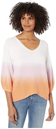 Michael Stars Joanne V-Neck Dip-Dye Pullover Malibu Sweater (Peony/Melon) Women's Clothing