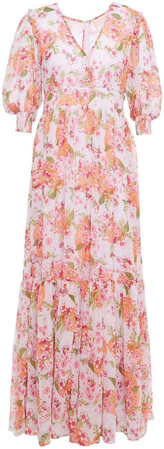 By Ti Mo Gathered Floral-print Crepon Maxi Dress