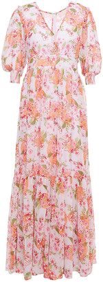 By Ti Mo Gathered Floral-print Crepon Maxi Dress