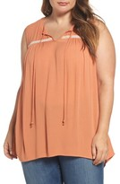 Bobeau Plus Size Women's Split Neck Gauze Top