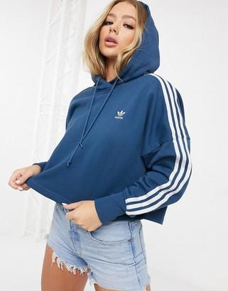 adidas adicolor cropped hoodie in navy