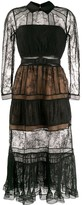 Self-Portrait Sheer Lace Panelled Shirt Dress