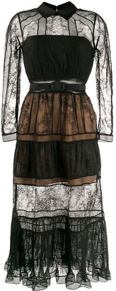 Self-Portrait sheer lace panelled shirt dress