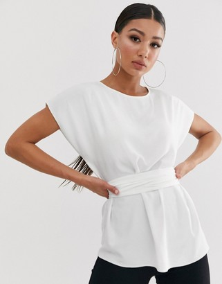 Asos Design DESIGN top with wrap around waist tie