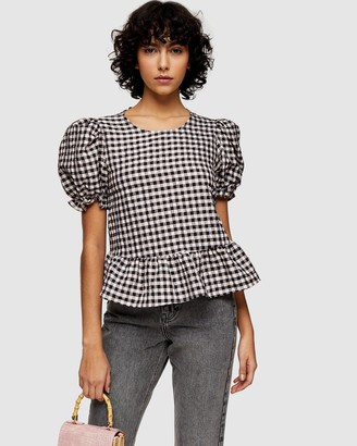 Topshop Check Bow Back Puff Blouse