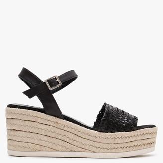 Kanna Ancroft Black Leather Woven Wedge Espadrille Sandals