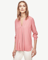 Ann Taylor Petite Pleated Mixed Media Popover