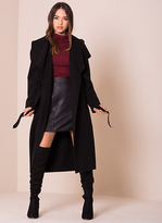 Missy Empire Shay Black Waterfall Drape Coat