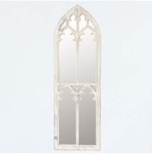 Luxen Home Wood Cathedral Framed Wall Mirror