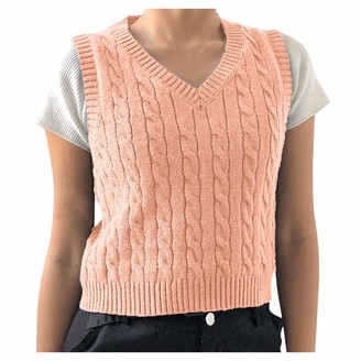 Sokmoop Women's Sweater Vest Garment Sleeveless V-Neck T-Shirt Tee Shirt Knitwear Cami Crop Tank Tops Halter Camisole Tankini Sling Blouse Clubwear Rompers Spaghetti Lingerie Bodysuit(Pink M)