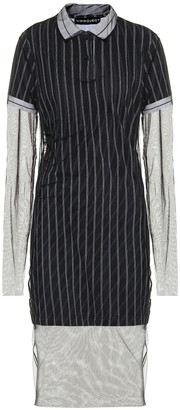 Y/Project Striped cotton and tulle midi dress