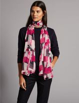 Marks and Spencer Pure Silk Brushstroke Print Scarf