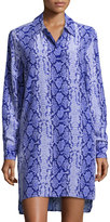 Equipment Kerry Snake-Print Silk Shirtdress, Blue
