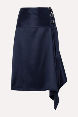 Sies Marjan Tamiko Draped Wrap-effect Satin-twill Midi Skirt - Navy