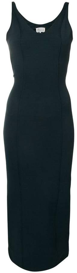 Maison Margiela minimal fitted V-neck dress