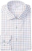 Lorenzo Uomo Long Sleeve Trim Fit No Wrinkle Windowpane Dress Shirt