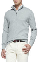 Peter Millar Cotton 1/2-Zip Pullover, Light Gray
