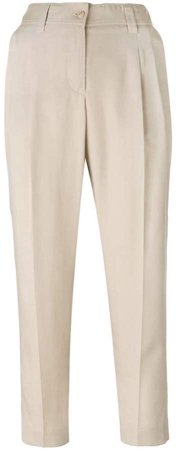 Blumarine front pleat cropped trousers