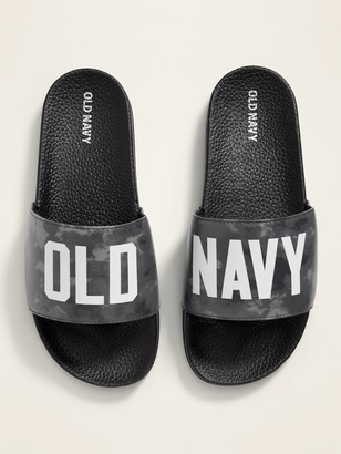 Old Navy Logo-Graphic Faux-Leather Pool Slide Sandals for Boys