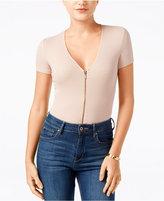 GUESS Joany Zip-Front Short-Sleeve Bodysuit