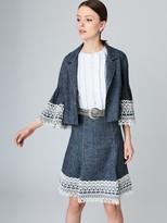 Oscar de la Renta Silk-Linen Donegal Tweed 3⁄4-Sleeve Jacket