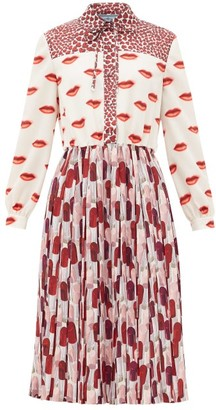Prada Lipstick-print Pleated Shirt Dress - Red White