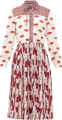 Prada Lipstick-print Pleated Shirtdress - Womens - Red White