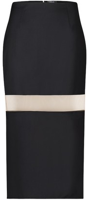 Thierry Mugler Mesh-insert wool pencil skirt