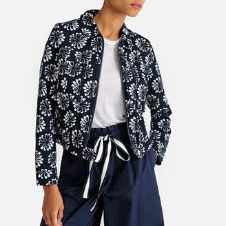 La Redoute Collections Cropped Floral Print Jacket with Pockets