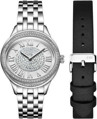 JBW J6366-SetA Silver-Tone Plaza Diamond Watch & Band Set