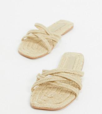 Asos Design DESIGN Wide Fit Jazzie espadrille flat sandals in natural-Beige