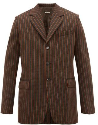 Marni Pinstripe Single-breasted Wool Blazer - Mens - Orange Multi