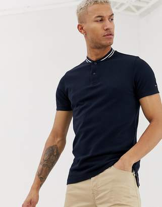 Tommy Hilfiger baseball collar slim fit polo shirt-Blue