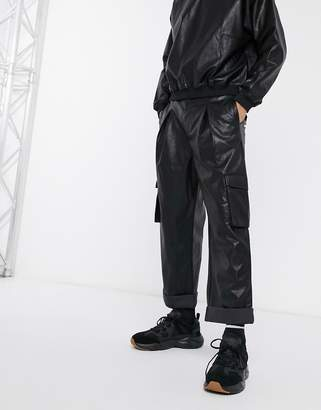 Asos Design DESIGN two-piece balloon fit cargo pants in faux leather-Black