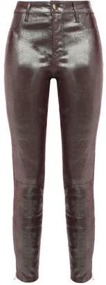 J Brand Coated Lizard-effect Leather Skinny Pants