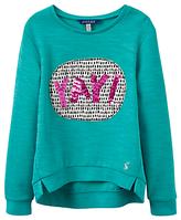 Joules Little Joule Girls' Screen Printed Sweatshirt, Cool Green