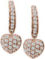 Giani Bernini Cubic Zirconia Pavé Heart Drop Earrings in 18k Rose Gold-Plated Sterling Silver, Only at Macy's