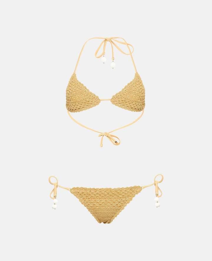 Stella McCartney golden crochet bikini set