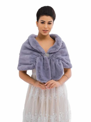 Apricity Sleeveless Faux Fur Shawl Wedding Fur Wraps and Shawls Bridal Fur Stole for Brides and Bridesmaids (Light Grey)