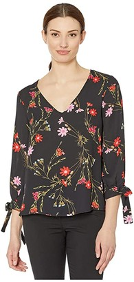 CeCe 3/4 Sleeve Enchanted Wildflower Blouse with Tie Sleeves (Rich Black) Women's Clothing