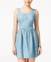 As U Wish Juniors' Chambray Polka-Dot Fit & Flare Dress