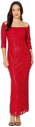 Alex Evenings Petite Long Off-the-Shoulder Sequin Lace Column Dress (Red) Women's Dress