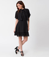 Hell Bunny 1940s Style Black Mesh Sleeved Imperia Flare Dress