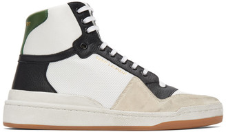 Saint Laurent White and Green Paneled High-Top Sneakers