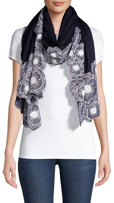 Janavi Embroidered Floral Cutwork Border Cashmere Scarf