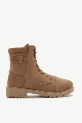 Ardene Faux Suede Combat Boots - Shoes |