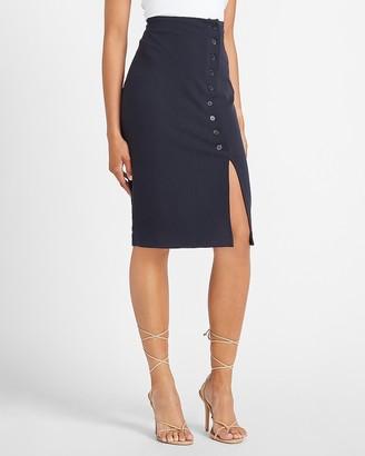 Express High Waisted Button Front Pencil Skirt