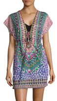 Luli Fama Short-Sleeve Crisscross Dress